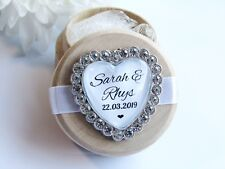 White Heart Personalised Wooden Wedding Ring Box Custom Names & Date Diamanté
