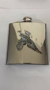 B4 Large Pheasant english pewter 6oz Stainless Steel Hip Flask With Pewter