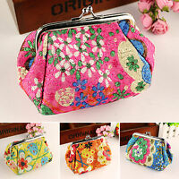 Vintage Floral Women Lady Small Wallet Card Key Holder Coin Purse Clutch Handbag