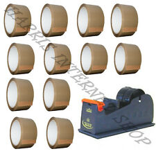 "BUNDLE OF 1 HEAVY DUTY 2"" METAL TAPE DISPENSER + 12 ROLLS OF BROWN PACKING TAPE"