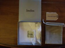 """Neiman Marcus """"Oh what fun it is to give"""" Metal Gift Tag, box and pouch"""