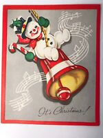Vintage Mid Century Christmas Greeting Card Snowman on Bell - Paper Craft USA