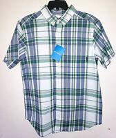 Mens Columbia Rapid Rivers Short Sleeve Button Up Plaid Shirt New Size Medium M