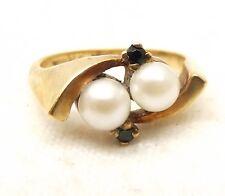 Vtg 10K Gold Cultured Pearl Emerald Ring Sz 6 5mm Pearl Estate Signed Monaco