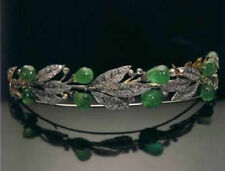 Emerald Drop Sterling Silver Weeding Tiara Victorian 9.30 Ctw Rose Cut Diamond