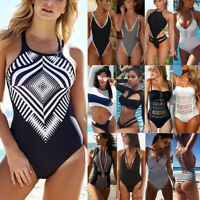 Women Costume Monokini Bikini Set Padded One-Piece Swimwear Swimsuit Swimming S