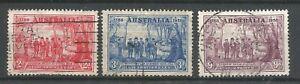 AUSTRALIA  1938    KGVI    F.Used    Anniversary of N.S.W.   SG193-195   Cat.£17