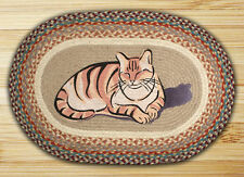 NEW Yellow Tiger Cat Napping Jute Fiber Braided Oval Rug Mat