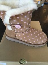 Ugg Australia Kids Bailey Button Chestnut w/Pink Polka dot Winter Boot NIB Sz 3