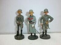 Konvolut 3 alte Hausser Elastolin Massesoldaten Generäle zu 7.5cm