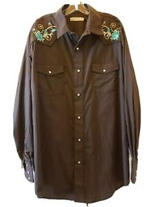 Roper Western Shirt 2XL Pearl  Snap Embroidered Brown Southwestern Cowboy Cotton