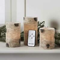 Set of 3 Battery Operated Flameless LED Glitter Birch Pillar Candles with Remote