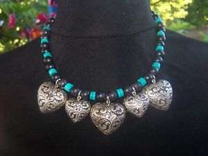 LARGE Southwestern Silver Ornate HEART Purple Turquoise Charm Western Necklace