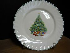 Dinner Plate Christmas Tree Green Red On White Verge Swirls Noel Salem France