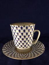 Gorgeous Lomonosov Russia Porcelain Cobalt Net Cup and Saucer Set