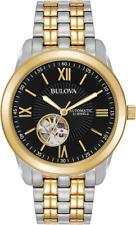 Bulova Men's Automatic 98A168 Open Heart Black Dial Two Tone Bracelet 42mm Watch