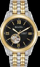 Reloj Pulsera Bulova Para Hombres Automático 98A168 Corazón Abierto Dial Negro Dos Tonos 42mm