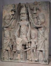 Vintage Edo Style Benin Bronze IMPORTANT King Plaque HORSE African Sculpture