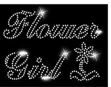 FLOWER GIRL Wedding Hen Iron On Diamante Crystal t shirt Transfer LARGE DESIGN