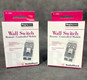 2 NEW Radio Shack 61-2683 Plug n Power Wall Switch Module For Incandescent Light