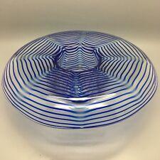 """Art Nouveau Kralik """"Spiral"""" Threaded design glass flower bowl 1900"""