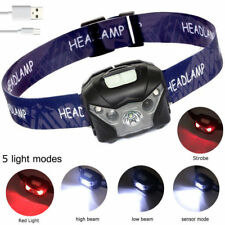 Best Head Torch LED Light Rechargeable USB CREE Running Walking Camping Reading