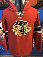 Chicago Blackhawks CCM Pullover Hoodie Hockey Red Sweatshirt Large 14-16