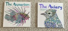 Lot of 2 New The Aquarium, The Aviary Adult Coloring Books BN Relax, Bird, Fish