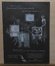 1955 magazine ad for Philco Television -Touch Top tuning, Christmas ad, 4 models