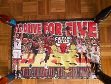 "Vintage Michael Jordan & Chicago Bulls ""Drive For Five"" Championship Poster 1997"
