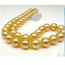 "GENUINE Huge 18"" Round 10-9 mm AAA south sea golden pearls Necklace 14K Gold"