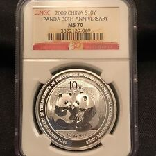 2009 CHINA S10Y PANDA 30TH ANNIVERSARY MS70. NGC