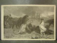 cpa illustrateur surand militaire guerre 1915 lion coq combat