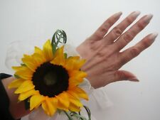 Wedding Flowers Sunflower & Foliage Wrist Corsage Prom Mother Of The Bride