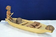 Vintage nigeriano Espina-Talla De Madera canoa Piragua Folk Art étnico Yoruba