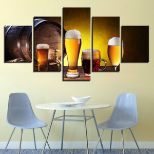 Oak Barrel Beer Dispenser Wine Glass Drink Liquor 5 Panel Canvas Print Wall Art