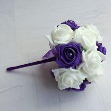 Purple Artificial Wedding Flowers - Brides Bouquet - Bridesmaid - Buttonhole