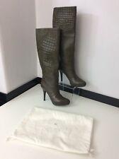 Versace Nuevo Caqui Acolchado Rodilla Botas Tacones Altos De Cuero Talla 39 Reino Unido 6 RRP £ 1495