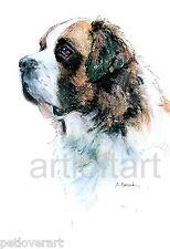 SAINT BERNARD  DOG  Art Print SIGNED A Borcuk PAINTING
