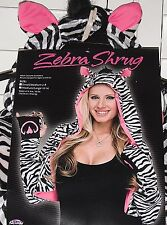 ZEBRA Shrug Jacket Costume Long Sleeve Hood Pink Ears - Paw Hand Covers S. M