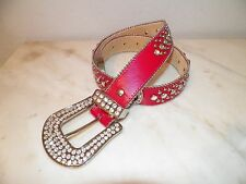 WOMEN'S RED LEATHER BELT WITH RHINESTONES & HORSESHOES SIZE S SILVERTONE BUCKLE