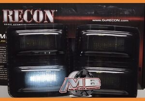 Recon Smoked Side Mirror Lenses w/WHITE LED's 08-16 Ford F250 F350 Super Duty