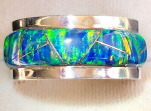 Heavy thick Pipe Men Man Black Opal Ring FIRE Sunset GLOW Sterling 11 V FIRE