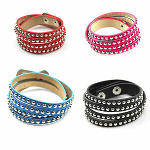 Two Wrap-a-Round PU Leather Bracelet With two Rows Studs and Snap Fastener