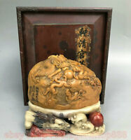 "6 ""Chinois Shoushan Stone Sculpté Dragon Pixiu Beast Play Bead Seal Signet Stamp"