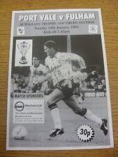 12/01/1993 Port Vale v Fulham [AUTOGLASS trofeo] (cuatro páginas). gracias por nocturna
