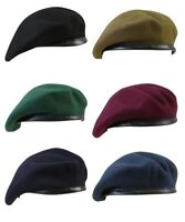 British Army Beret 100% Wool Soldier Cadet Maroon RAF Military Blue Marine Green