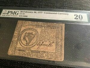 $8 February 26, 1777 Continental Currency, CC-61, PMG