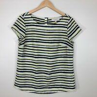 Ann Taylor Loft Short Sleeve Top Blouse Size M Black Off White Lime Green Stripe
