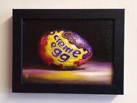 7 X 5 Framed Cadbury Creme Egg Jane Palmer Art original Still Life oil painting